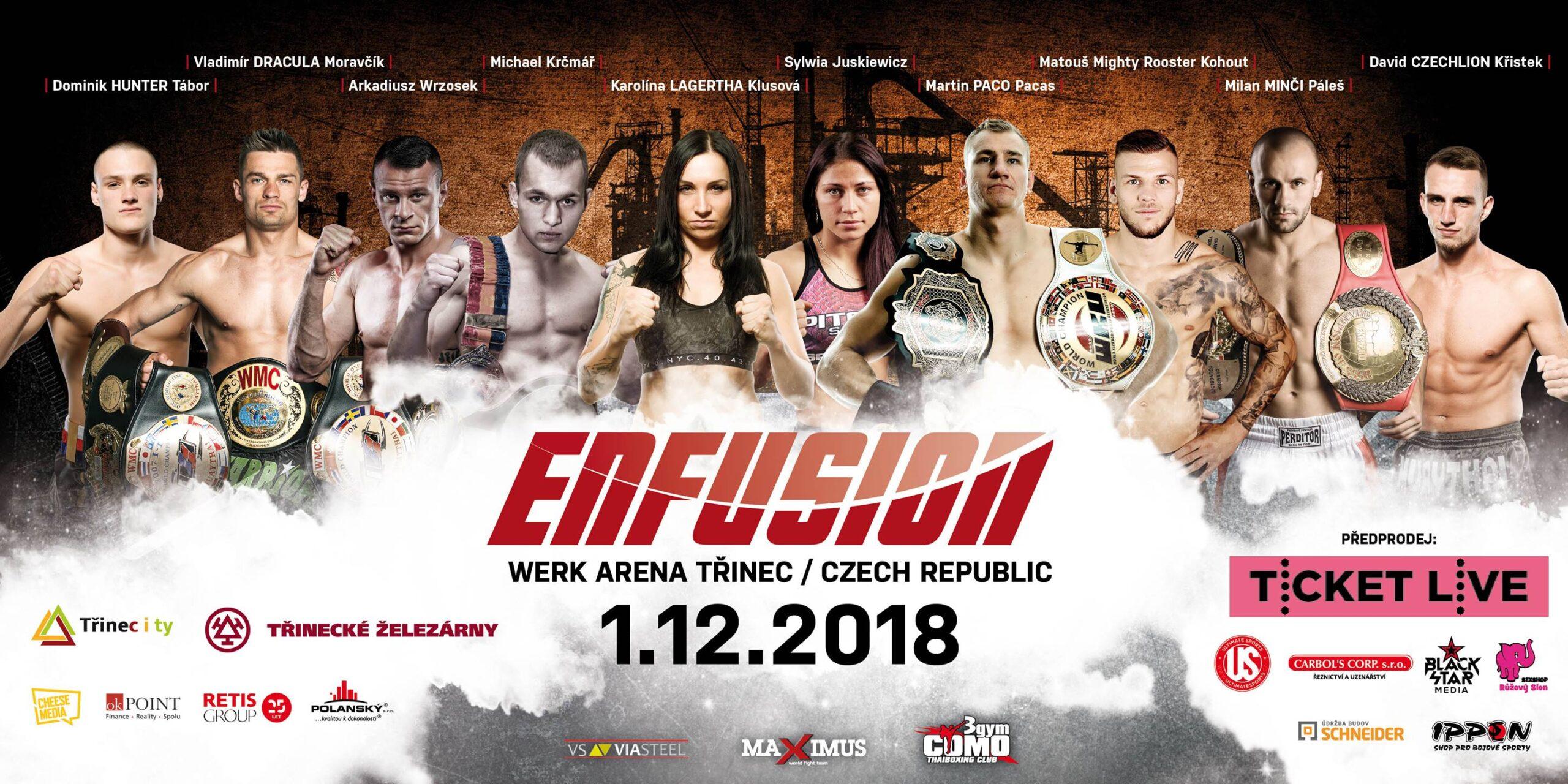 Ve Werk Areně se bude 1. prosince konat Světová série bojových sportů Enfusion.