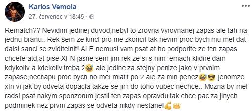 Karlos Vémola odpovídá přes Facebook